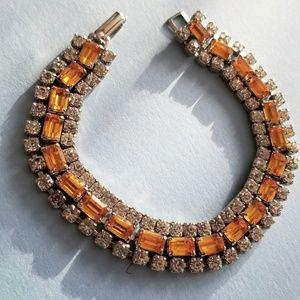Vintage amber rhinestones bracelet silver tone